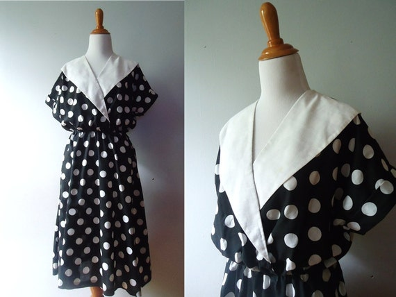 Ladies Vintage Short Sleeve Collared black and White Polka Dot Classic Long Waist Cinched 70s Dress / Blair Brand / Small / Medium