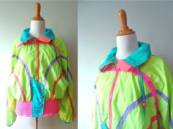 Ladies Vintage Retro 80s Style Bright Colored Windbreaker Multicolored Zipper Womens Jacket /