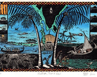 Maldives, Then and Now : Linoleum block print and watercolor