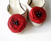 Dark Red Roses Shoe Clips - BizimWedding