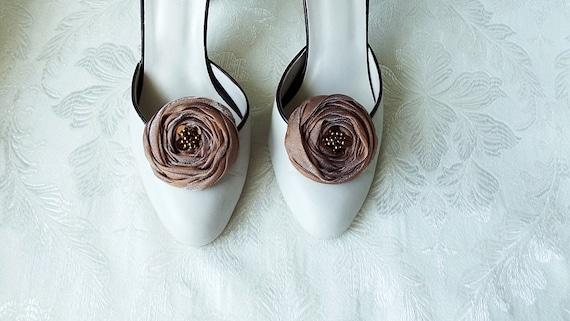 Cinnamon Brown Chiffon Roses Shoe Clips
