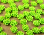SALE - 20 pc. Bright Green Ruffle Rose Cabochons 13mm x 11mm | RES-251