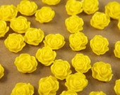 20pc. Bright Yellow Ruffle Rose Cabochons 13mm x 11mm - RES-224