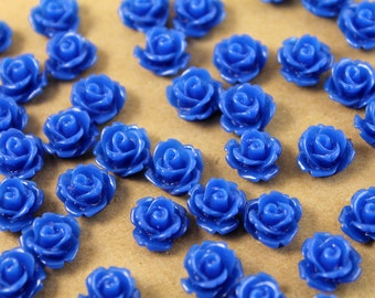 CLOSEOUT - 30 pc Royal Blue Glossy Rose Cabochon 10mm | RES-016