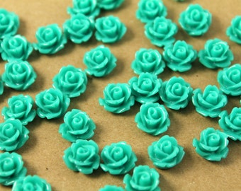 30 pc. Teal Glossy Rose Cabochon 10mm | RES-010
