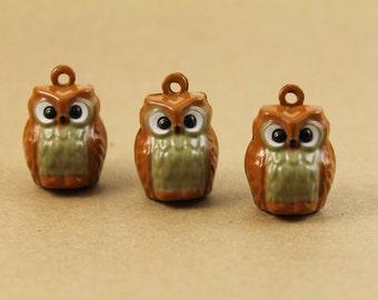 3 pc. Brown Enamel Owl Bell Pendants | MIS-001