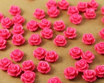 30 pc. Hot Pink Glossy Rose Cabochon 10mm | RES-017