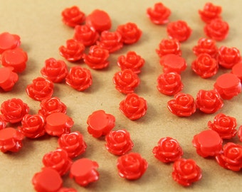 30 pc. Cherry Red Glossy Rose Cabochon 10mm | RES-015