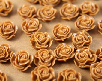 SALE - 20 pc. Light Brown Ruffle Rose Cabochons 13mm x 11mm - RES-506