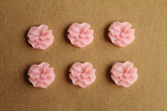 SALE - 6 pc Baby Pink Ruffle Flower Cabochons 16mm | RES-146