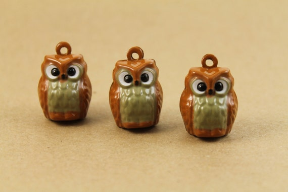 3 pc. Brown Enamel Owl Bell Pendants | MIS-001