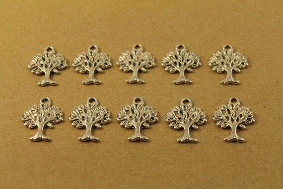 15 pc. Tibetan Style Tree Charms Pendants Silver | MIS-005