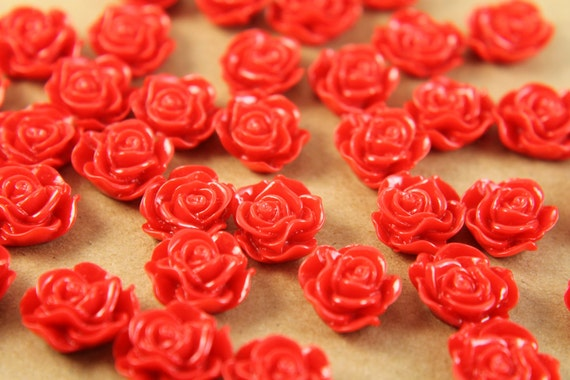 SALE - 20 pc.Crimson Red Ruffle Rose Cabochons 13mm x 11mm   RES-249