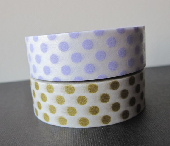 Washi tape 2P MT Kamoi Japanese for Decoration & Crafts  - Dotty Lilac / Gold