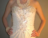 Vintage 80s Sexy Body Con Awesome White Sequin Formal/Prom/Wedding Dress