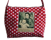 Bag No.362 Medium sized shoulder bag in red with white dots Picture from an old 1949 magazine