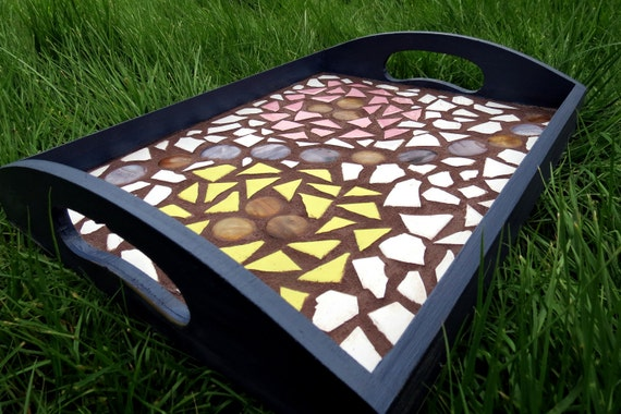 Floral Mosaic Tile Serving Tray