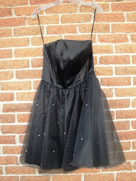 Vintage 80s Prom Dress Cocktail Party Rhinestone Strapless Dance Dress by Contempo Casuals