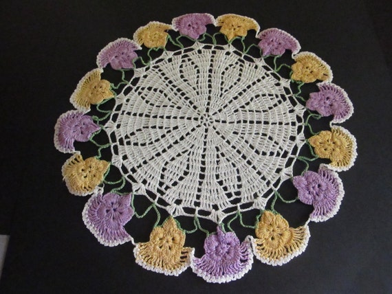 2 Vintage Shabby Chic Handmade Crochet Doilies Gold and Purple Pansies
