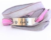 Valentine Silk Ribbon Bracelet.  Loved with Heart Hand Stamped  Sweetheart Jewelry Pink  and Gray