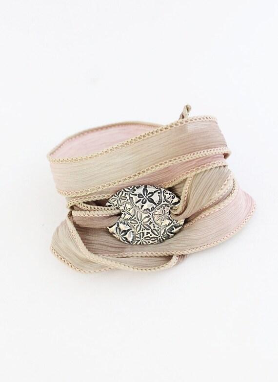 Sand Dollar Silk Ribbon Bracelet Beach Chic Sea Life Jewelry Eco Friendly Fine Silver Bracelet, Khaki, Under 75