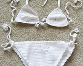 Handmade White Crochet Bikini Set Bathing Suit ONE SIZE So Cute