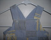 Vintage Baby blue, yellow and gray QUILT PATCH baby ROMPER