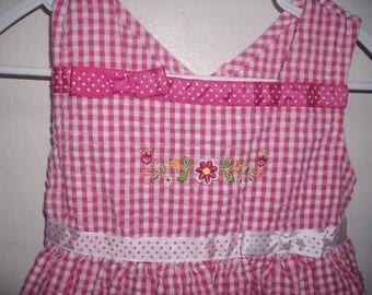 Vintage PINK GINGHAM seersucker DRESS