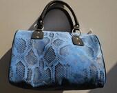 Blue Pyton Print Leather Handbag