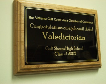 "Valedictorian/Salutatorian School Plaque  8"" x 10"""