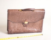 vintage brown leather lawyer briefcase made in USA