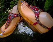 Bohemian Wedges Sandals - Red