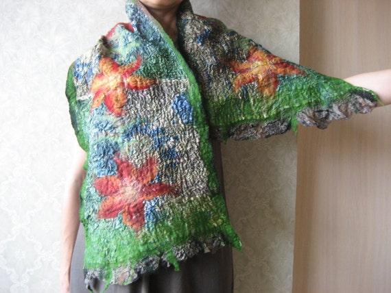 Felt Scarf Shawl: Green Colors, Wool, Silk. Splendid, Light and Bright. Flower Decoration. Nuno felted wrap. Gift under 50