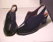 Vintage Ladies Shoes UNUSED Tailored Tred French Moderns Black Suede SIZE 6