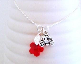 Cinderella Flower  - Swarovski Crystal Necklace - Red Flower Pendant - Pumpkin Carriage Charm in Silver