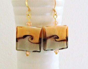 Caramel Caffè - Lampwork Earrings -  Beige colour Earrings - Square Glass with Black Design and Swarovski