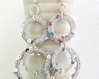 Handmade Pearl Grey Earrings - Crochetted Earrings - Women Rounds Earrings -  Ice Grey Shine Earrings