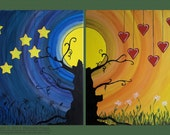 Night and Day: Original Abstract Painting Modern Art -- Fantasy, Stars, Hearts, Moon