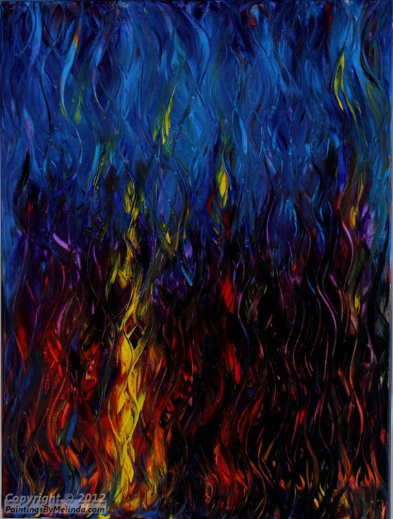 Original Abstract Fire Painting, Flames, Beautiful Textured Painting, Mixed Media Art, Modern Art