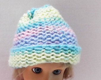 Baby Hat Loom Knit in Pastel Stripes Stocking Cap Beanie