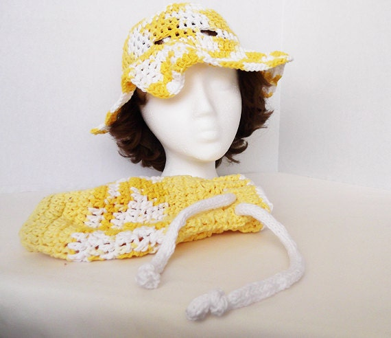 Crocheted Sun Hat & Drawstring Purse
