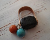 Ring,  handmade, copper,  lava stone, coral , turquoise  howlite, sterling silver wire