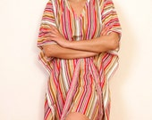 ALL LINED UP Cotton kaftan dress in a striped print. Perfect as lounge wear, beach cover up or summer dress. Great gift for her.