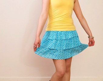 Last one. JUPE BLEUE Tiered short mini skirt with in a polka dot print. Great gift for her.