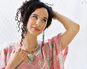 ELVEN SONG short romantic cotton kaftan dress. Lounge wear, oversize dress or hospital gown. Beach cover up.