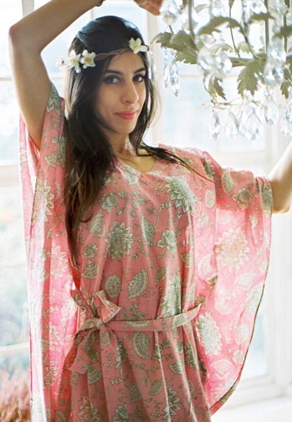Limited edition. ELVEN SONG long romantic cotton kaftan maxi dress. Hospital gown, lounge wear or summer dress. Maternity dress.