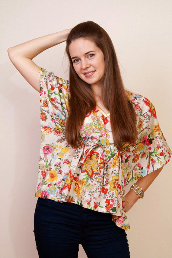 Limited edition. ORANGERIE Cotton cropped kaftan poncho top in floral print and empire waist. Great gift for her.