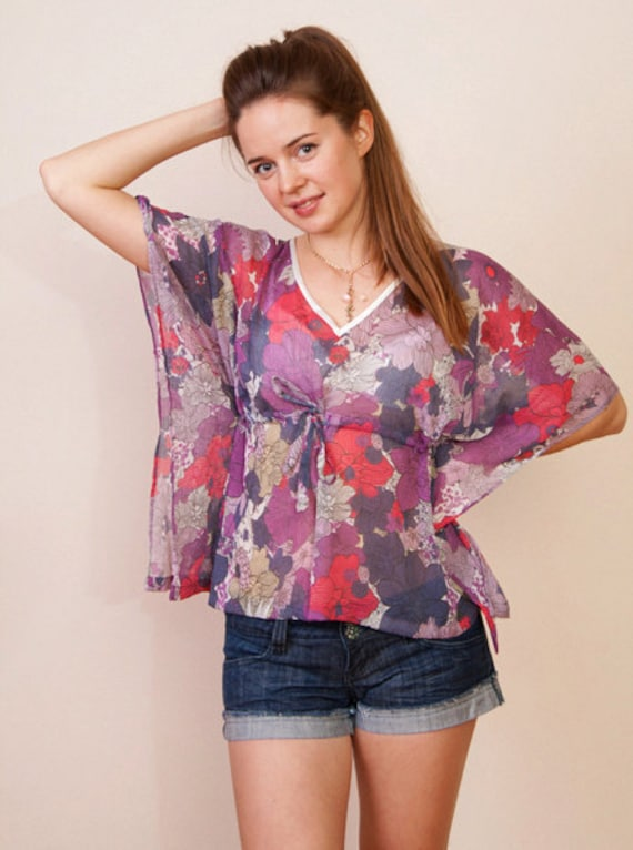 Limited edition. MAUVE SMOKE Sheer chiffon kaftan cropped top in floral print and empire waist. Beach cover up.