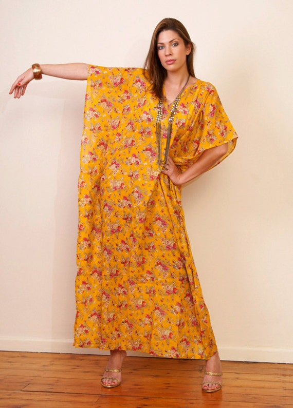 DESERT ROSE Cotton kaftan maxi  dress in a yellow floral print. Bridal party robe, beach cover up or summer dress.