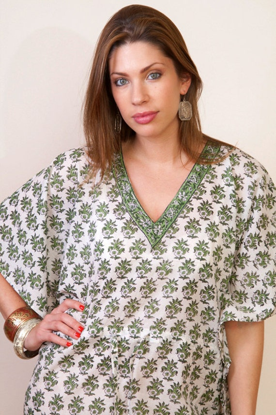 Limited edition. OLIVERAIE Cotton kaftan dress in leaves print. Lounge wear, beach cover up or summer dress. Great gift for her.